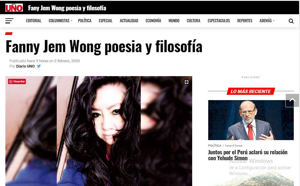 """FANNY JEM WONG POESÍA Y FILOSOFÍA Por WINSTON ORRILLO. PUBLICADO EN """"DIARIO UNO"""""""